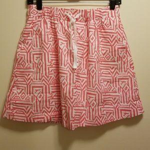 J. Crew hot pink/white geometric print skirt-2